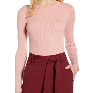 Halogen Ribbed Sweater Pink Bride S NWT